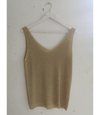 Tanktop knitted glitter, Gold