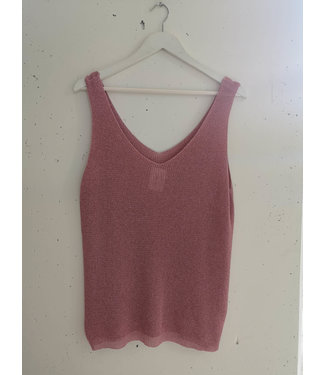 Tanktop knitted glitter, Pink