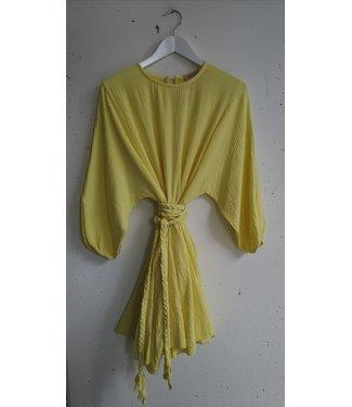 Dress midi wrinkles belt, Yellow