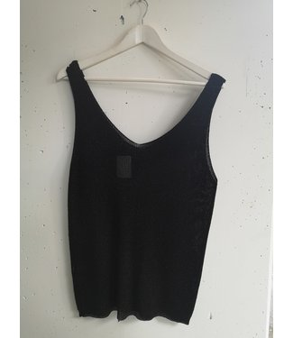 Tanktop knitted glitter, Black