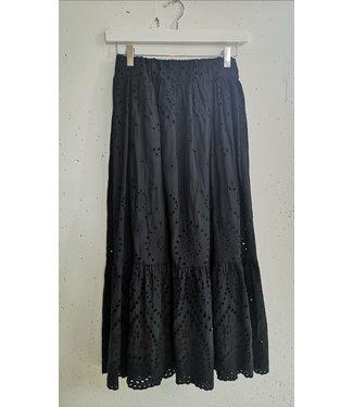 Skirt long broderie, Black