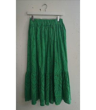 Skirt long broderie, Grass green