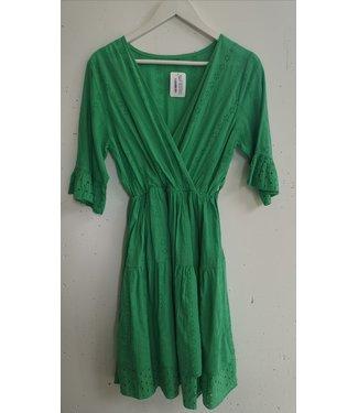 Dress midi broderie V, Grass green