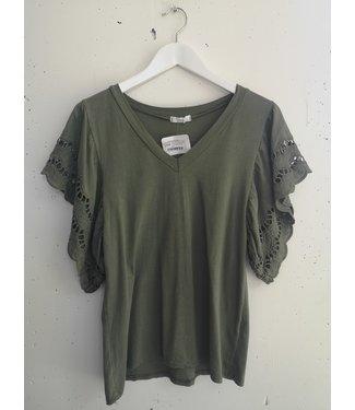 T-shirt lace sleeve ruffle V, Army green