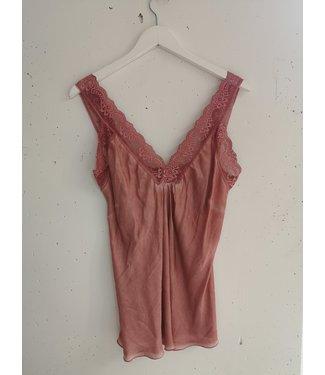Singlet big lace, Vintage pink