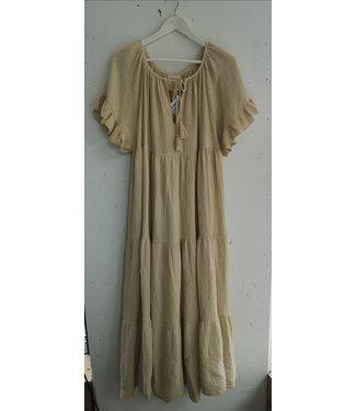 Dress maxi cotton crinkle, Beige