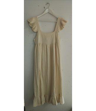 Dress cotton crinkle sleeveless, Beige