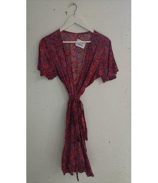 Wrap dress paisley, Red pink purple