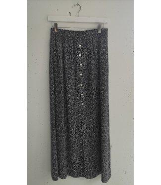 Skirt long flowers split, Black white