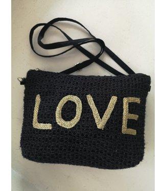 Bag LOVE straw, Black