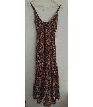 Dress maxi singlet flowers, Brown pink mint