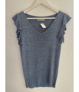 Top ruffle sleeves, Blue glitter