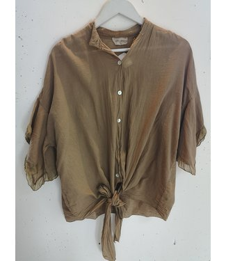 Blouse knotted cotton, Camel