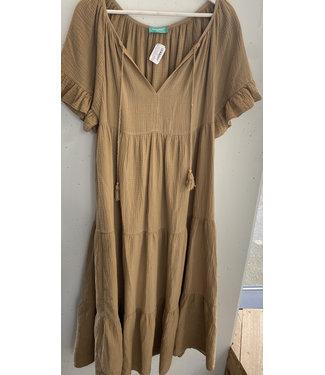 Dress maxi cotton crinkle, Camel