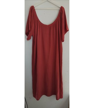 Dress maxi crinkle cotton, Cherry red