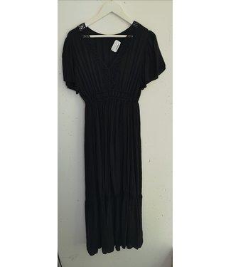 Dress maxi broderie details, Black