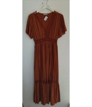 Dress maxi broderie details, Terracotta