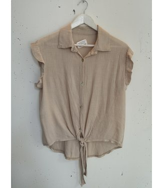 Top crinkle viscose knotted, Beige