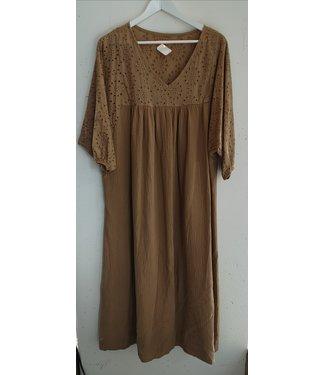 Dress maxi broderie cotton, Sand brown