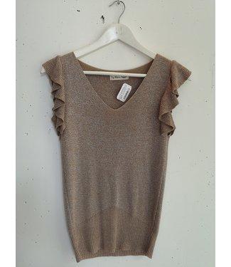 T-shirt lace sleeve ruffle, Brown