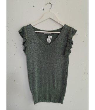 T-shirt lace sleeve ruffle, Green