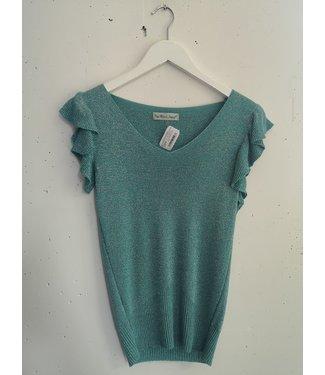 Top ruffle sleeves, Turquoise glitter