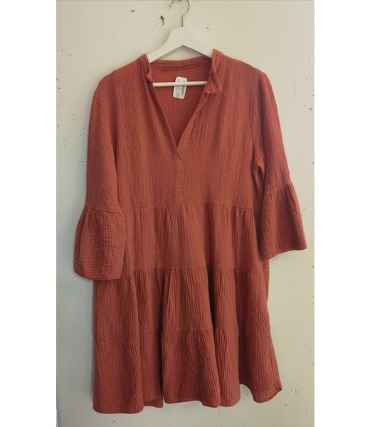 Dress midi crinkle cotton, Peach pink