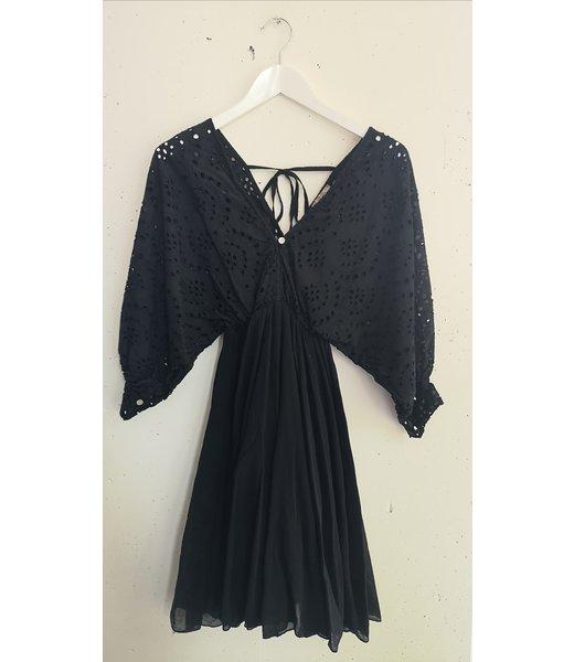 Dress midi broderie cotton, Black