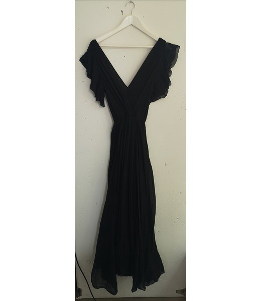 Dress maxi viscose crinkle, Black