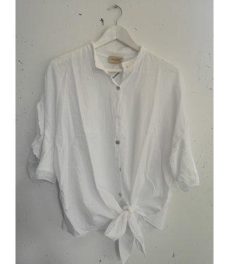 Blouse knotted cotton, White