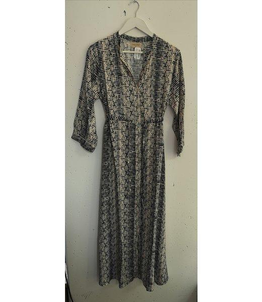 Dress maxi  drops print, Black beige
