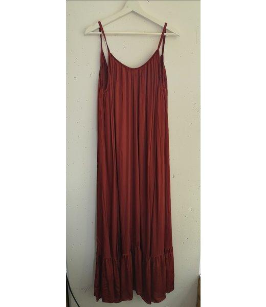 Dress maxi satin low back, Terracotta