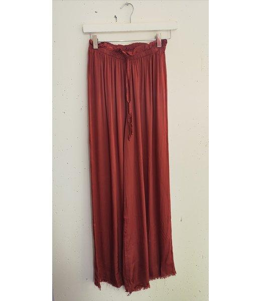 Pants wide silk, Terracotta