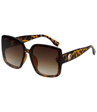 Sunglasses big round square, Brown