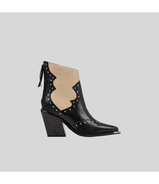 BRONX Ankle Boots NEW-KOLE STUDS, Black/Camel