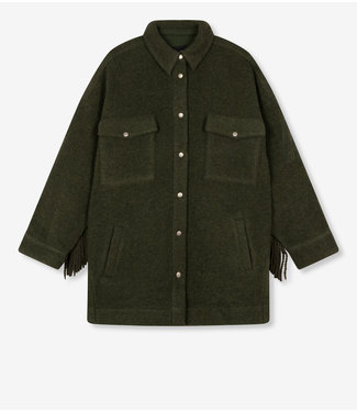 ALIX the label Ladies woven felted wool jacket, Dark Army