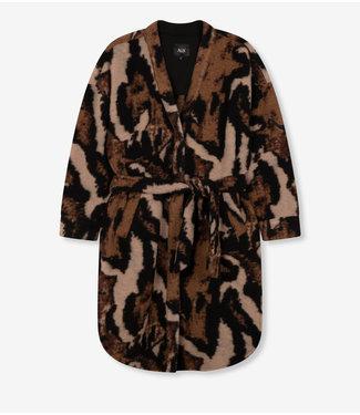 ALIX the label Ladies woven animal felted wool jacket,  Deep Brown
