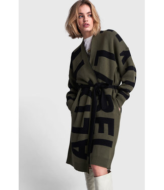 ALIX the label Ladies knitted text jacquard cardigan, Dusty army