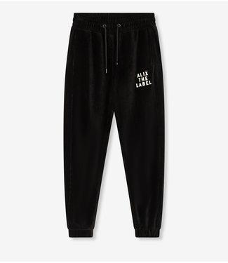 ALIX the label Ladies Knitted rib velvet pants, Black