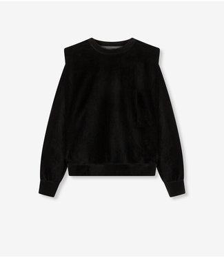 ALIX the label Ladies knitted rib velvet sweater, Black
