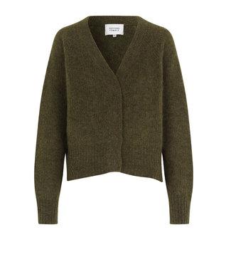 Second female Cardigan Brooky knit boxy, Burnt Olive