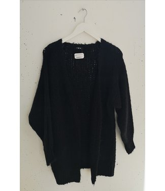 Cardigan knitted midi, Black