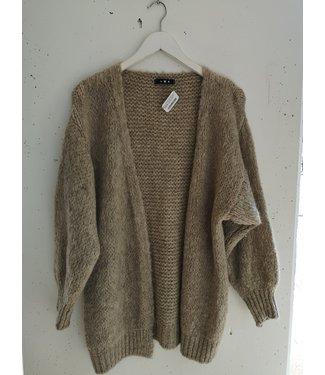 Cardigan knitted midi, Beige