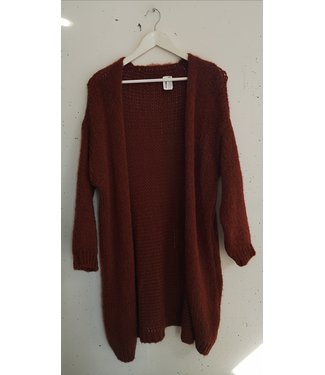 Cardigan knitted long, Rusty orange