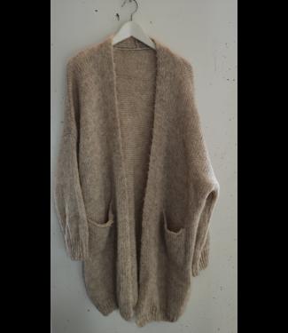 Cardigan knitted pockets long, Creme melange