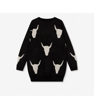 ALIX the label Ladies knitted bull jacquard pullover, Black
