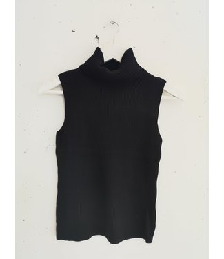 Top sleeveless col rib, Black