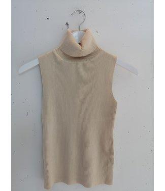 Top sleeveless col rib, Beige