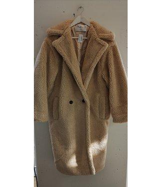 Coat teddy long, Beige