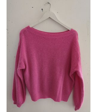 Sweater knitted wide neck, Pink